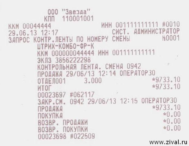 России реквизиты чеков и контрольных лент термобелье