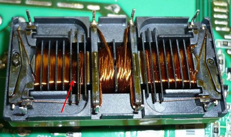 ВЧ трансформатор 6131040001P00LS,E одна из высоковольтных секций имеет следы перегрева.