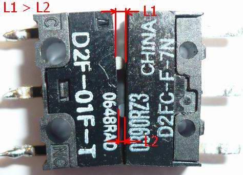Различие размеров толкателя клавиши Omron D2FC-F-7N от Omron D2F-01F-T. У Omron D2F-01F-T толкатель больше