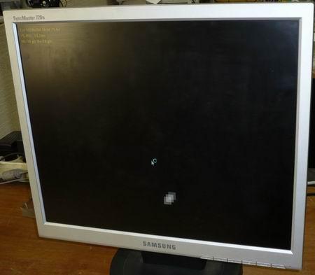 Samsung 720N с неисправной ЖК панелью MT170EN01, как можно увидеть, при малом количестве белого цвета - монитор дает картинку.