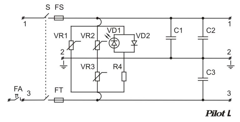 Схема сетевого фильтра Pilot L